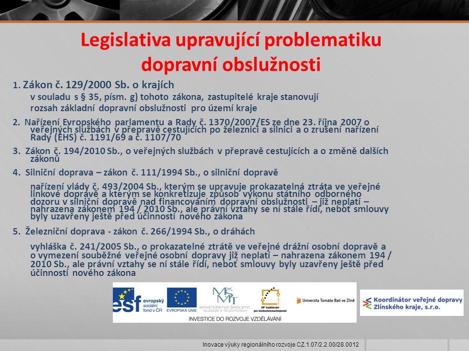 Legislativa upravující problematiku dopravní obslužnosti 1.