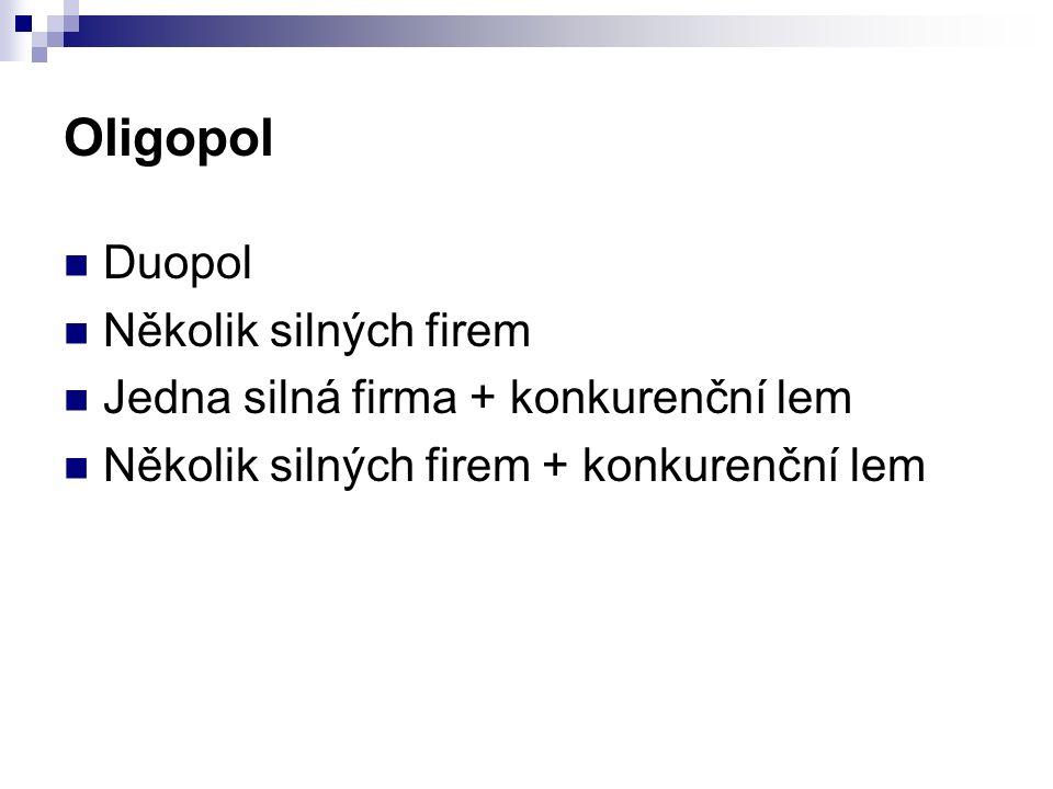 Oligopol Duopol Několik silných firem Jedna silná firma + konkurenční lem Několik silných firem + konkurenční lem