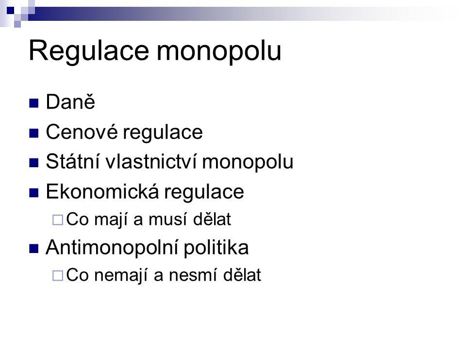 Regulace monopolu Daně Cenové regulace Státní vlastnictví monopolu Ekonomická regulace  Co mají a musí dělat Antimonopolní politika  Co nemají a nes