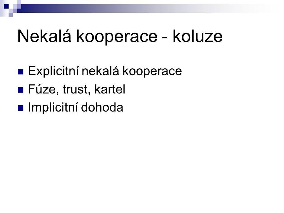 Nekalá kooperace - koluze Explicitní nekalá kooperace Fúze, trust, kartel Implicitní dohoda