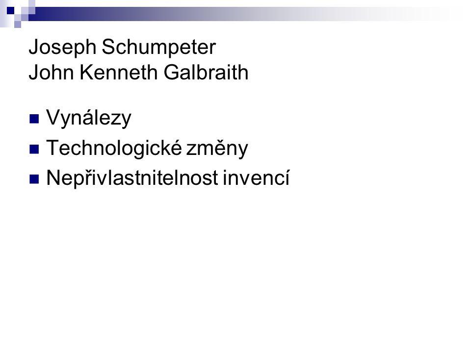 Joseph Schumpeter John Kenneth Galbraith Vynálezy Technologické změny Nepřivlastnitelnost invencí