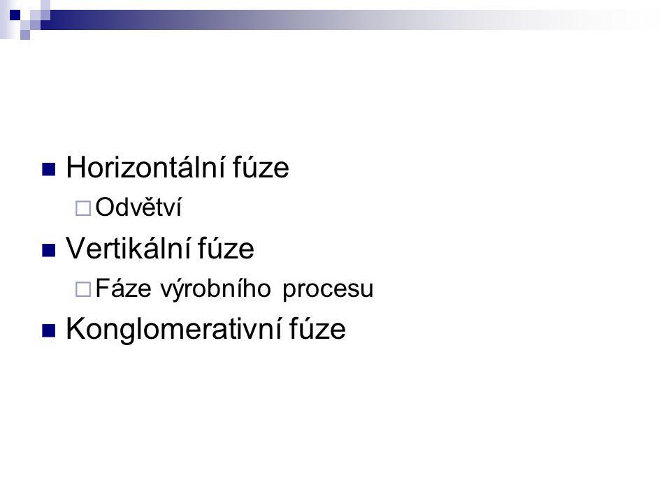 Horizontální fúze  Odvětví Vertikální fúze  Fáze výrobního procesu Konglomerativní fúze