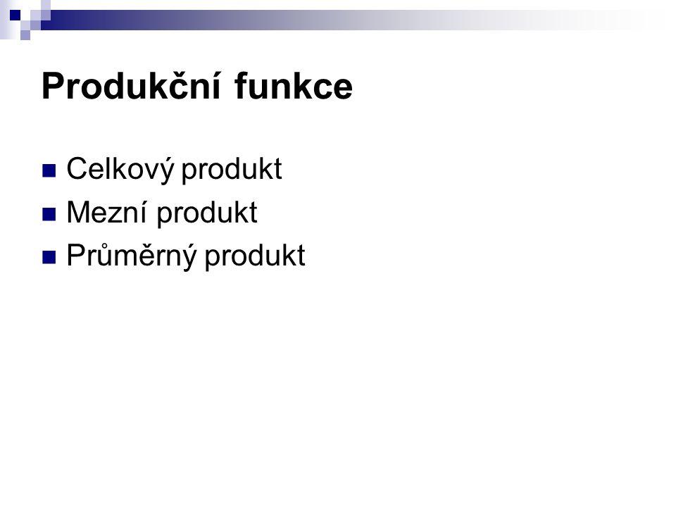 Produkční funkce Celkový produkt Mezní produkt Průměrný produkt