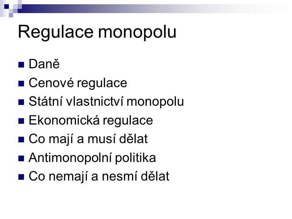 Regulace monopolu Daně Cenové regulace Státní vlastnictví monopolu Ekonomická regulace Co mají a musí dělat Antimonopolní politika Co nemají a nesmí dělat