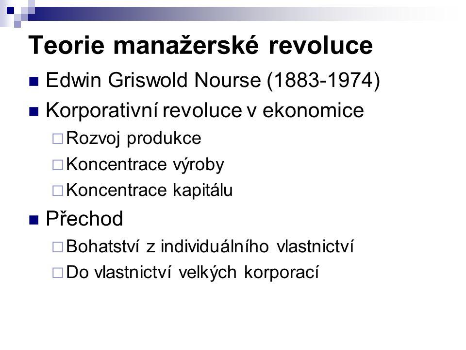Teorie manažerské revoluce Edwin Griswold Nourse (1883-1974) Korporativní revoluce v ekonomice  Rozvoj produkce  Koncentrace výroby  Koncentrace kapitálu Přechod  Bohatství z individuálního vlastnictví  Do vlastnictví velkých korporací