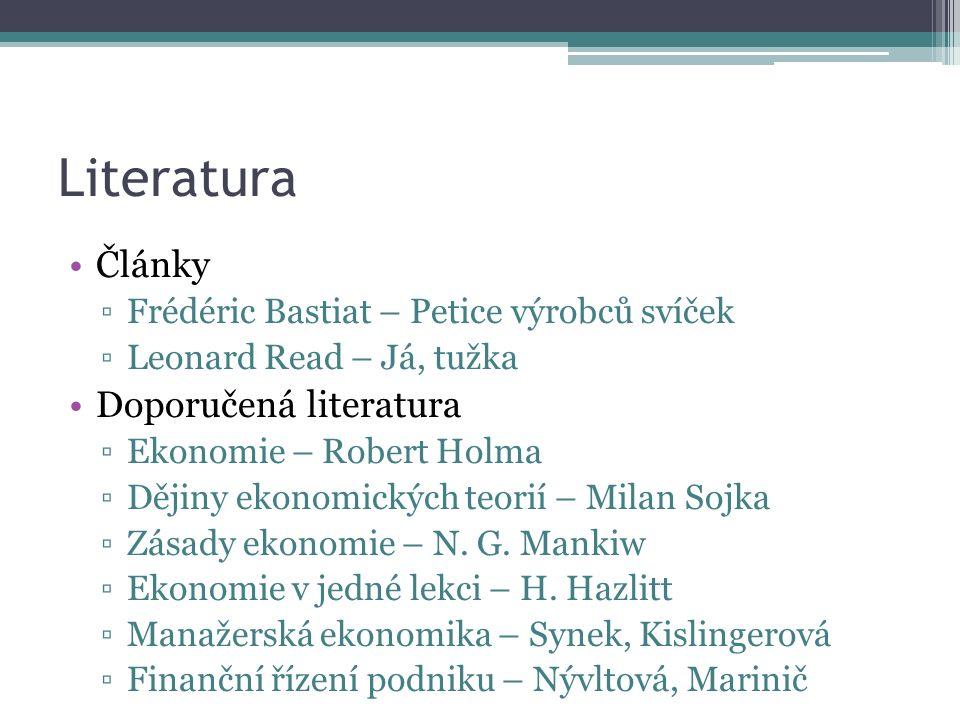 Literatura Články ▫Frédéric Bastiat – Petice výrobců svíček ▫Leonard Read – Já, tužka Doporučená literatura ▫Ekonomie – Robert Holma ▫Dějiny ekonomických teorií – Milan Sojka ▫Zásady ekonomie – N.