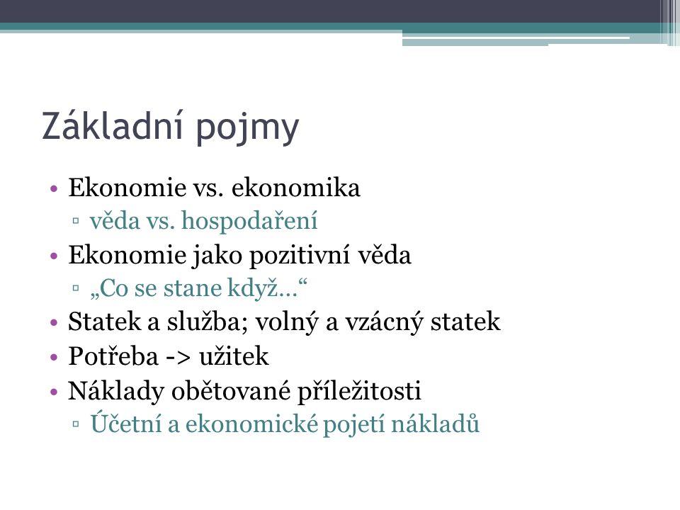 Základní pojmy Ekonomie vs. ekonomika ▫věda vs.