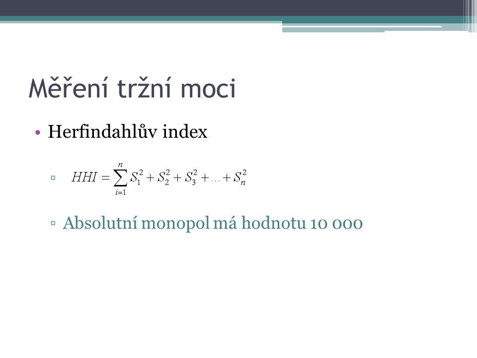 Měření tržní moci Herfindahlův index ▫ ▫Absolutní monopol má hodnotu 10 000