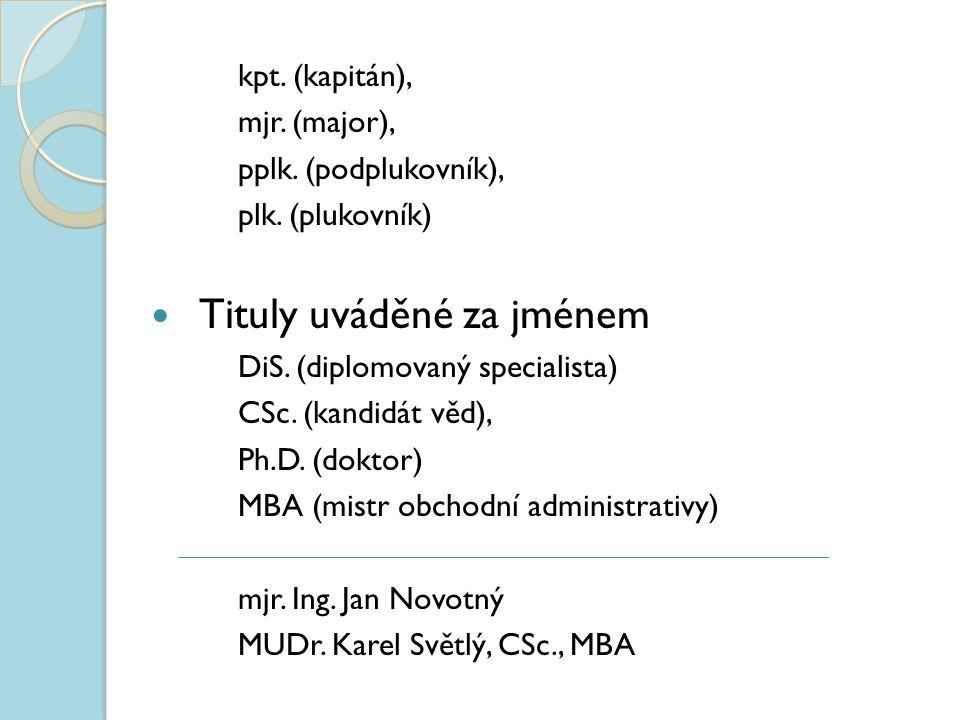 kpt. (kapitán), mjr. (major), pplk. (podplukovník), plk. (plukovník) Tituly uváděné za jménem DiS. (diplomovaný specialista) CSc. (kandidát věd), Ph.D