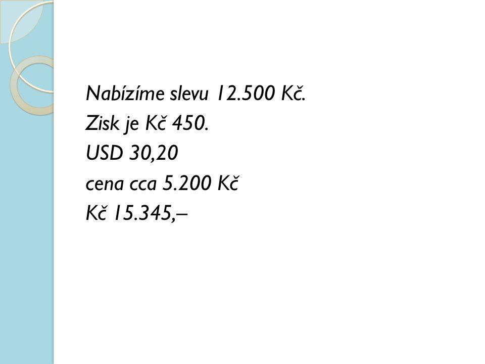 Nabízíme slevu 12.500 Kč. Zisk je Kč 450. USD 30,20 cena cca 5.200 Kč Kč 15.345,–