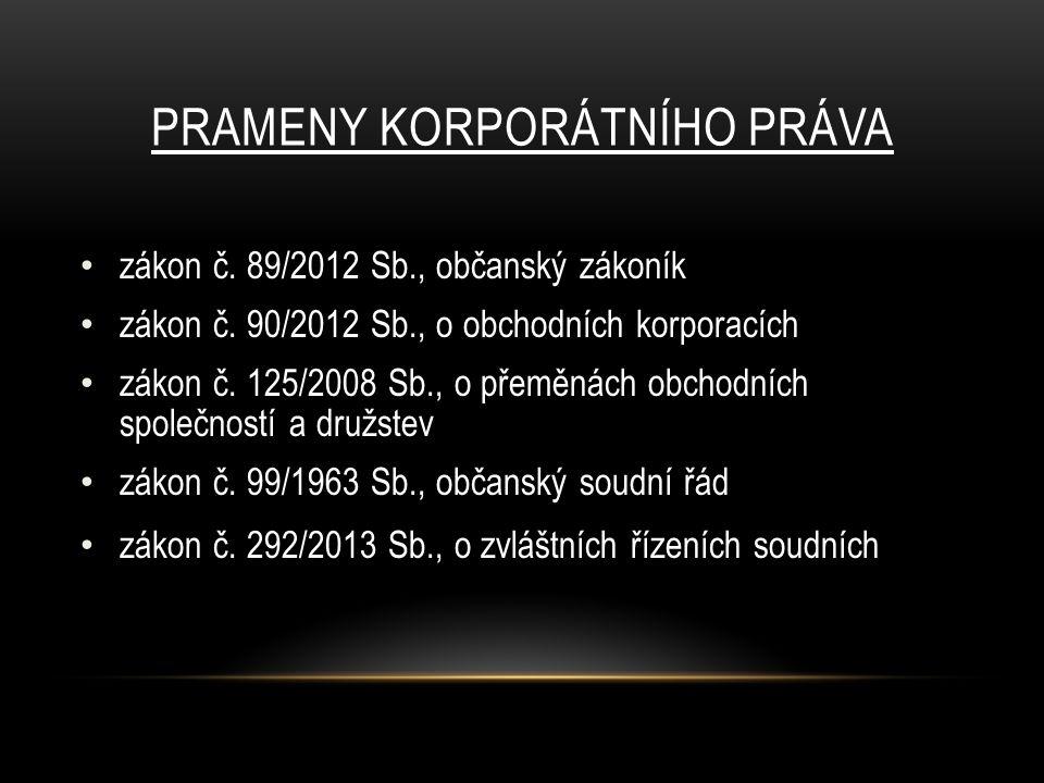 PRAMENY KORPORÁTNÍHO PRÁVA zákon č. 89/2012 Sb., občanský zákoník zákon č.