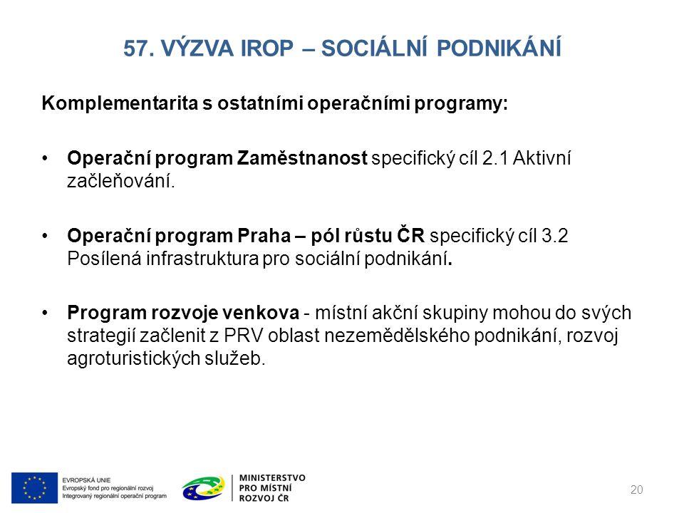 57. VÝZVA IROP – SOCIÁLNÍ PODNIKÁNÍ Komplementarita s ostatními operačními programy: Operační program Zaměstnanost specifický cíl 2.1 Aktivní začleňov
