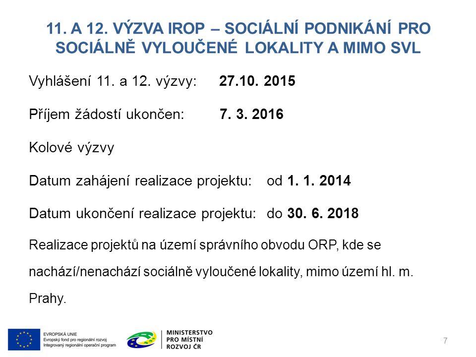 11. A 12. VÝZVA IROP – SOCIÁLNÍ PODNIKÁNÍ PRO SOCIÁLNĚ VYLOUČENÉ LOKALITY A MIMO SVL Vyhlášení 11.