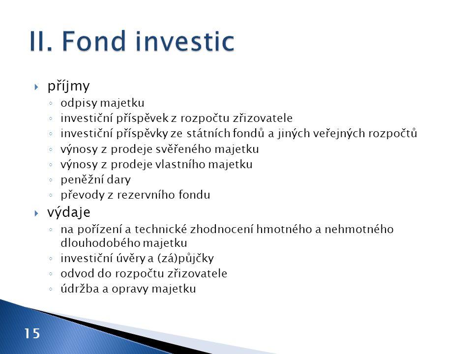 příjmy ◦ odpisy majetku ◦ investiční příspěvek z rozpočtu zřizovatele ◦ investiční příspěvky ze státních fondů a jiných veřejných rozpočtů ◦ výnosy z prodeje svěřeného majetku ◦ výnosy z prodeje vlastního majetku ◦ peněžní dary ◦ převody z rezervního fondu  výdaje ◦ na pořízení a technické zhodnocení hmotného a nehmotného dlouhodobého majetku ◦ investiční úvěry a (zá)půjčky ◦ odvod do rozpočtu zřizovatele ◦ údržba a opravy majetku 15