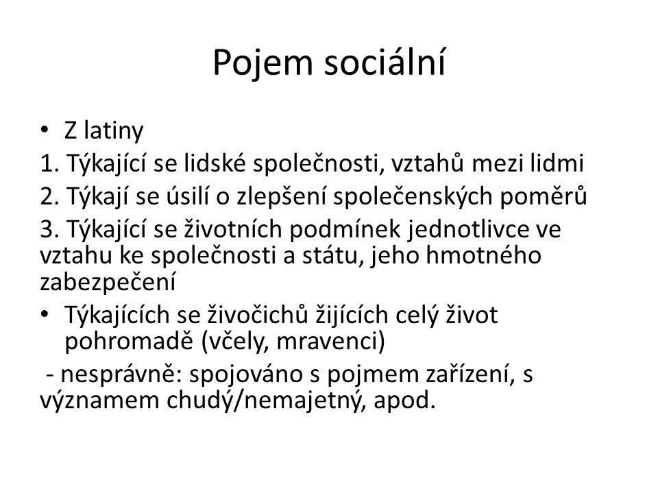 Pojem sociální Z latiny 1. Týkající se lidské společnosti, vztahů mezi lidmi 2.