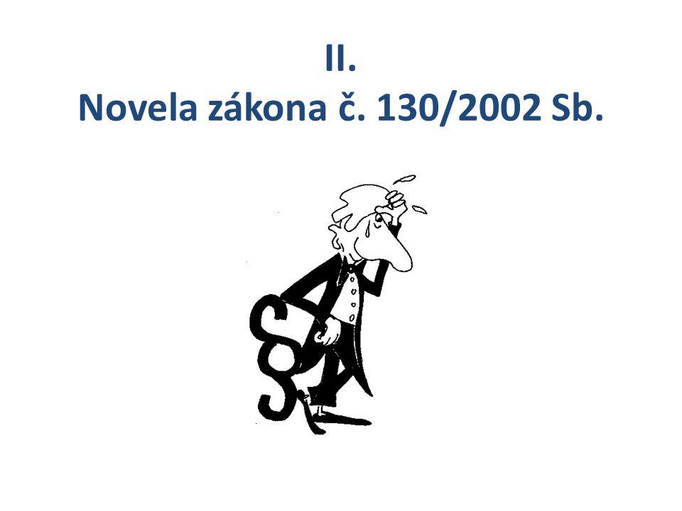 II. Novela zákona č. 130/2002 Sb.