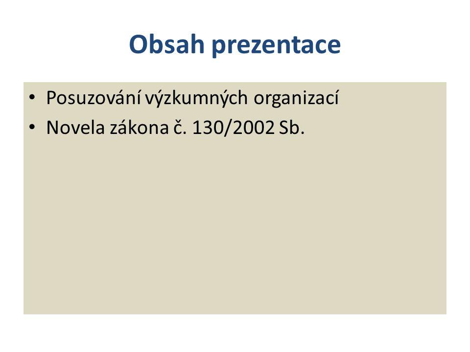 Obsah prezentace Posuzování výzkumných organizací Novela zákona č. 130/2002 Sb.