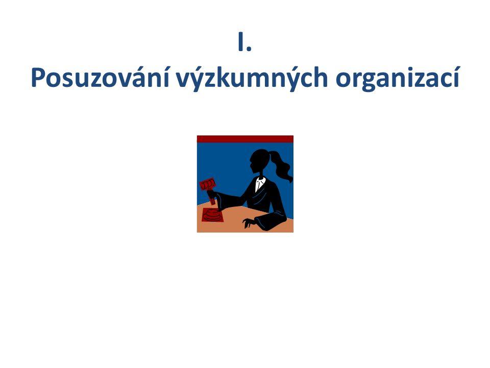 I. Posuzování výzkumných organizací