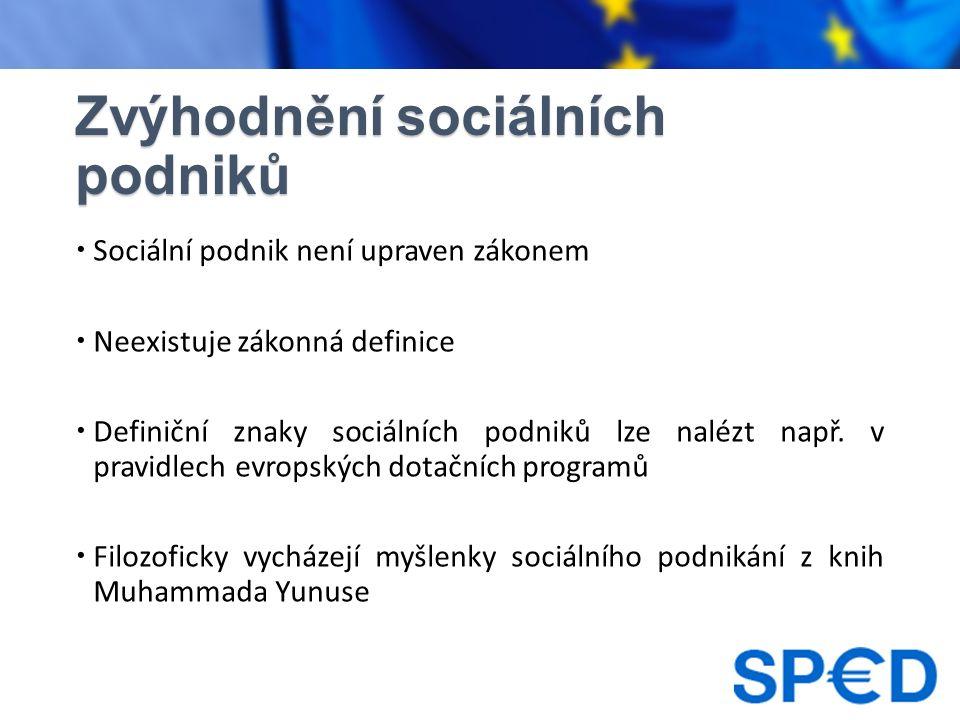 Zvýhodnění sociálních podniků  Sociální podnik není upraven zákonem  Neexistuje zákonná definice  Definiční znaky sociálních podniků lze nalézt např.