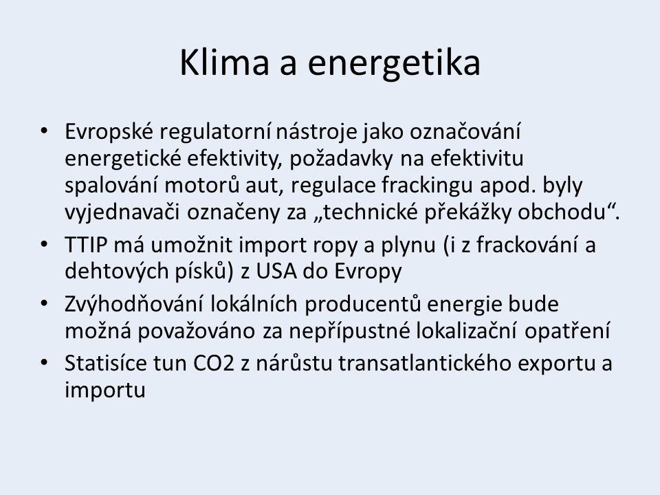Klima a energetika Evropské regulatorní nástroje jako označování energetické efektivity, požadavky na efektivitu spalování motorů aut, regulace frackingu apod.
