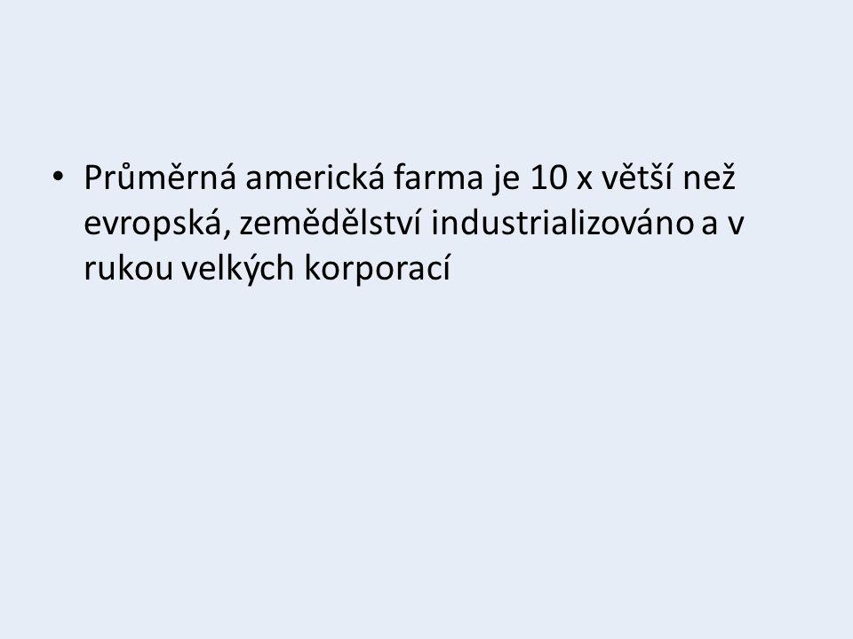 Průměrná americká farma je 10 x větší než evropská, zemědělství industrializováno a v rukou velkých korporací