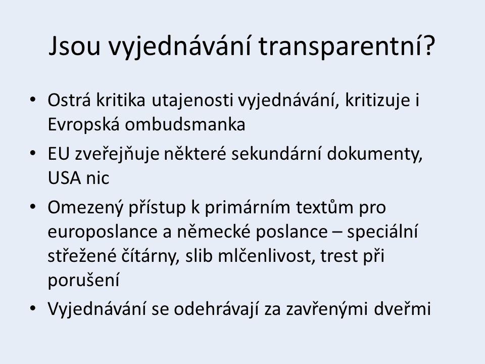 Jsou vyjednávání transparentní? Ostrá kritika utajenosti vyjednávání, kritizuje i Evropská ombudsmanka EU zveřejňuje některé sekundární dokumenty, USA