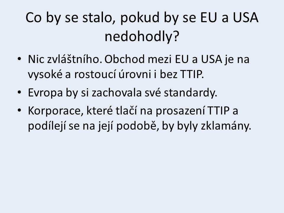 Co by se stalo, pokud by se EU a USA nedohodly? Nic zvláštního. Obchod mezi EU a USA je na vysoké a rostoucí úrovni i bez TTIP. Evropa by si zachovala