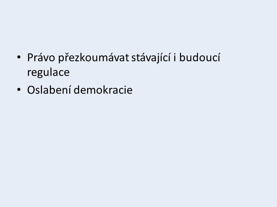 Právo přezkoumávat stávající i budoucí regulace Oslabení demokracie