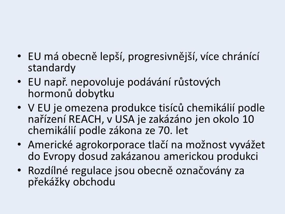 EU má obecně lepší, progresivnější, více chránící standardy EU např. nepovoluje podávání růstových hormonů dobytku V EU je omezena produkce tisíců che