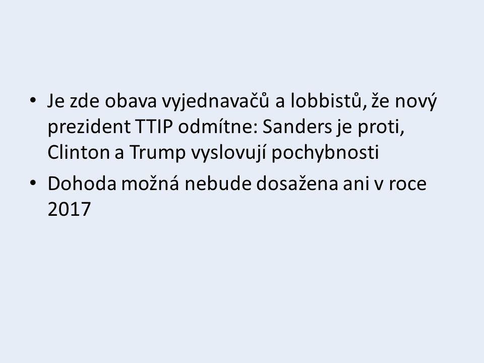 Je zde obava vyjednavačů a lobbistů, že nový prezident TTIP odmítne: Sanders je proti, Clinton a Trump vyslovují pochybnosti Dohoda možná nebude dosažena ani v roce 2017