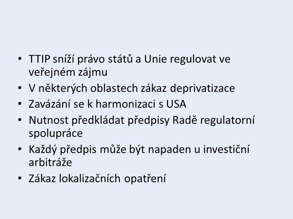 TTIP sníží právo států a Unie regulovat ve veřejném zájmu V některých oblastech zákaz deprivatizace Zavázání se k harmonizaci s USA Nutnost předkládat předpisy Radě regulatorní spolupráce Každý předpis může být napaden u investiční arbitráže Zákaz lokalizačních opatření