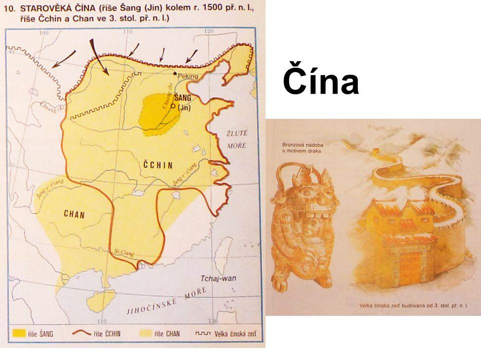 všechny starověké státy, které už znáte, měly něco společného buď je tvořili Indoevropané (Řecko, Řím, Indie, Persie), nebo ležely v oblastech, které se mohly vzájemně ovlivňovat, v okolí Středozemního moře (Egypt, Mezopotámie, Řecko, Řím) ve starověku vznikla jedna veliká mocná říše, která se státy, o nichž jsme se zatím učili, neměla vůbec nic společného – Čína Čína kulturně ovlivňovala po staletí velkou část Asie (Koreu a Japonsko) některé čínské vynálezy byly významné i pro rozvoj evropské kultury