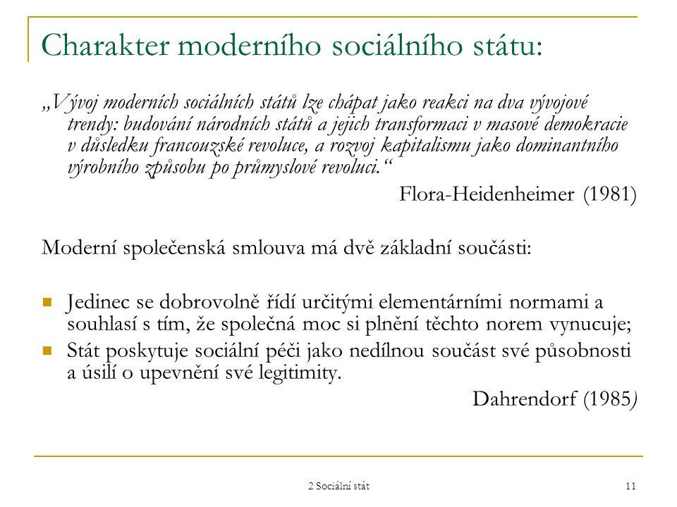 """2 Sociální stát 11 Charakter moderního sociálního státu: """"Vývoj moderních sociálních států lze chápat jako reakci na dva vývojové trendy: budování nár"""