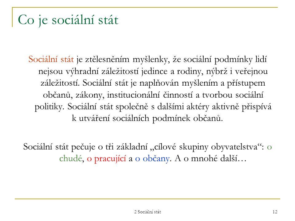 2 Sociální stát 12 Co je sociální stát Sociální stát je ztělesněním myšlenky, že sociální podmínky lidí nejsou výhradní záležitostí jedince a rodiny,