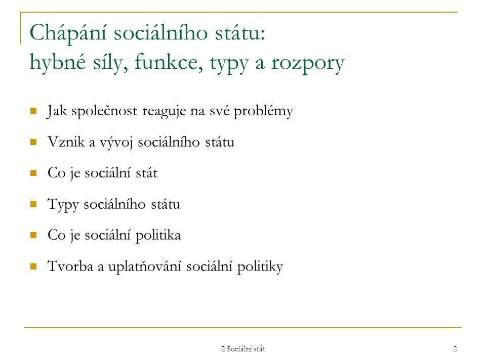2 Sociální stát 2 Chápání sociálního státu: hybné síly, funkce, typy a rozpory Jak společnost reaguje na své problémy Vznik a vývoj sociálního státu C