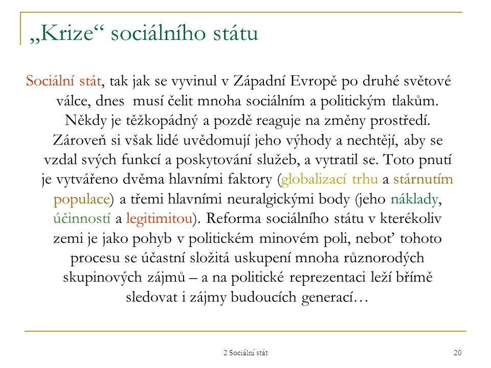 """2 Sociální stát 20 """"Krize"""" sociálního státu Sociální stát, tak jak se vyvinul v Západní Evropě po druhé světové válce, dnes musí čelit mnoha sociálním"""