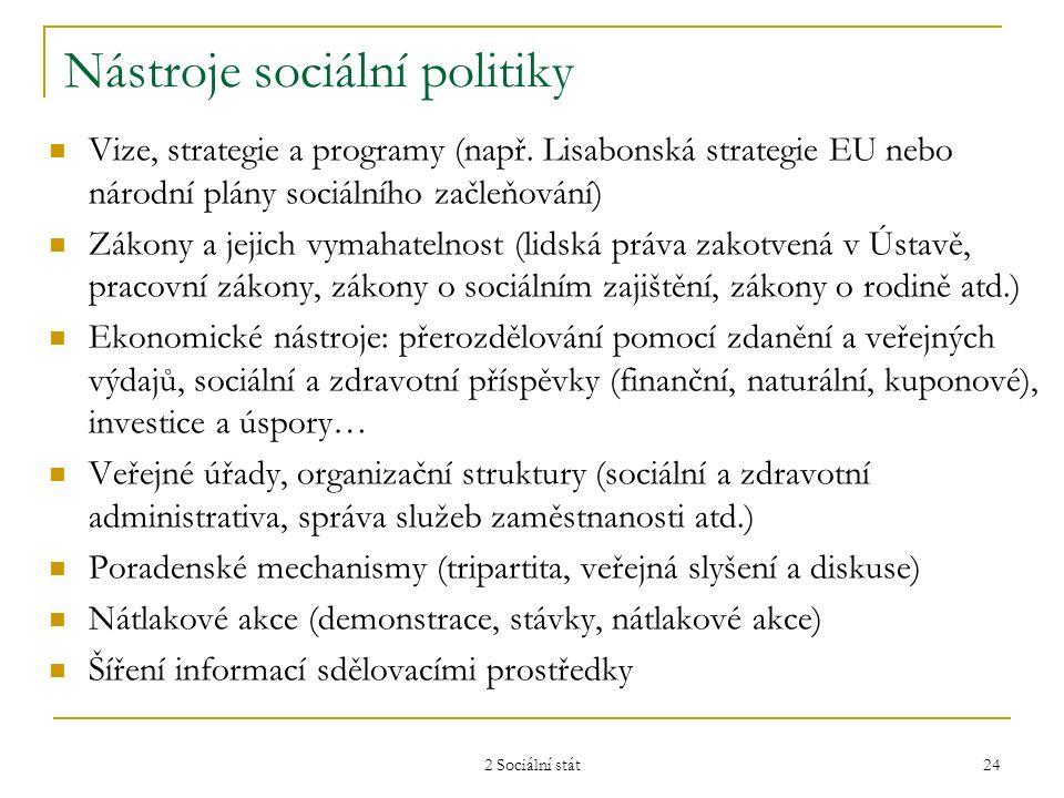 2 Sociální stát 24 Nástroje sociální politiky Vize, strategie a programy (např. Lisabonská strategie EU nebo národní plány sociálního začleňování) Zák