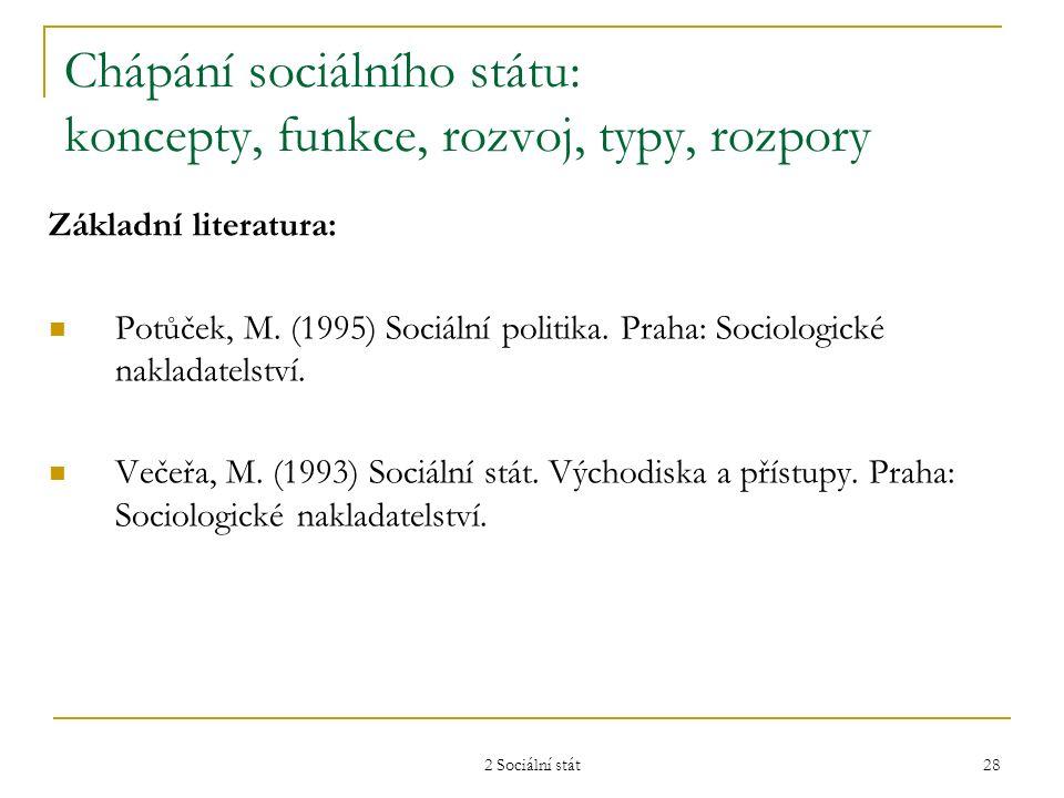 2 Sociální stát 28 Chápání sociálního státu: koncepty, funkce, rozvoj, typy, rozpory Základní literatura: Potůček, M. (1995) Sociální politika. Praha: