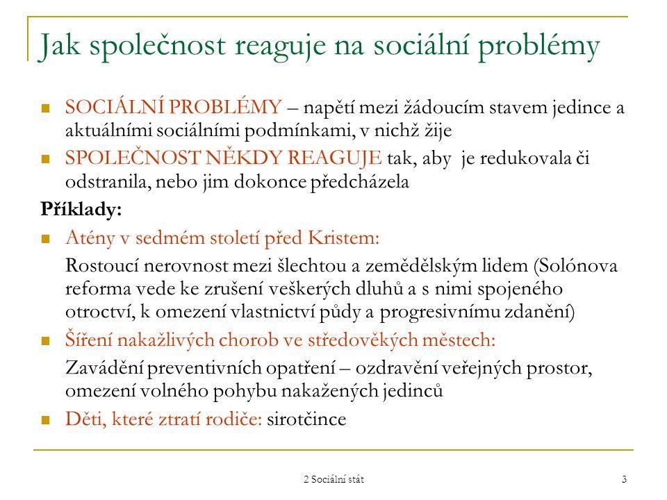 2 Sociální stát 3 Jak společnost reaguje na sociální problémy SOCIÁLNÍ PROBLÉMY – napětí mezi žádoucím stavem jedince a aktuálními sociálními podmínka