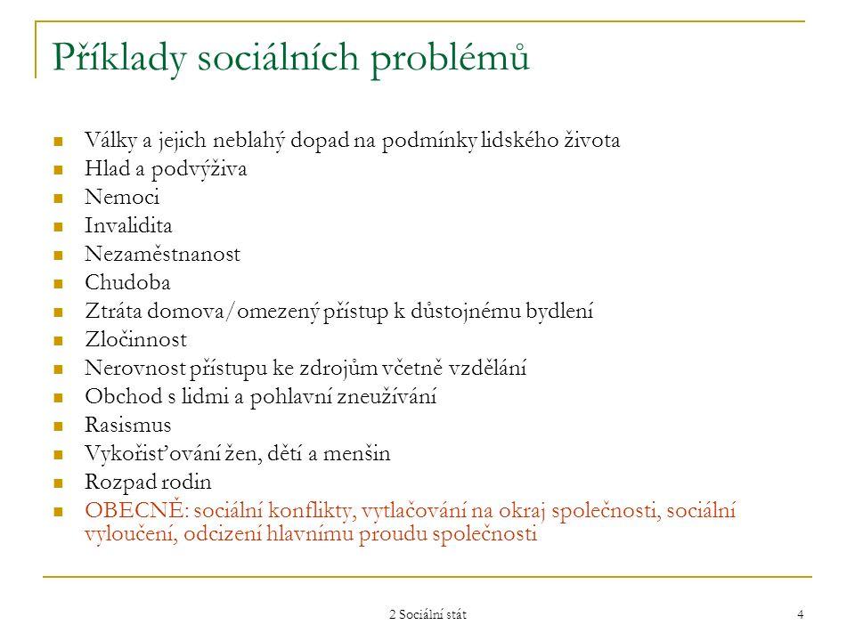 2 Sociální stát 4 Příklady sociálních problémů Války a jejich neblahý dopad na podmínky lidského života Hlad a podvýživa Nemoci Invalidita Nezaměstnan