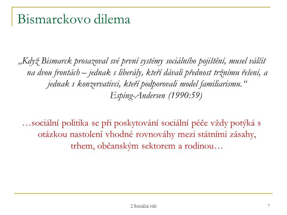 """2 Sociální stát 7 Bismarckovo dilema """"Když Bismarck prosazoval své první systémy sociálního pojištění, musel válčit na dvou frontách – jednak s liberá"""