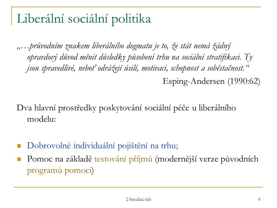 """2 Sociální stát 9 Liberální sociální politika """"…průvodním znakem liberálního dogmatu je to, že stát nemá žádný opravdový důvod měnit důsledky působení"""