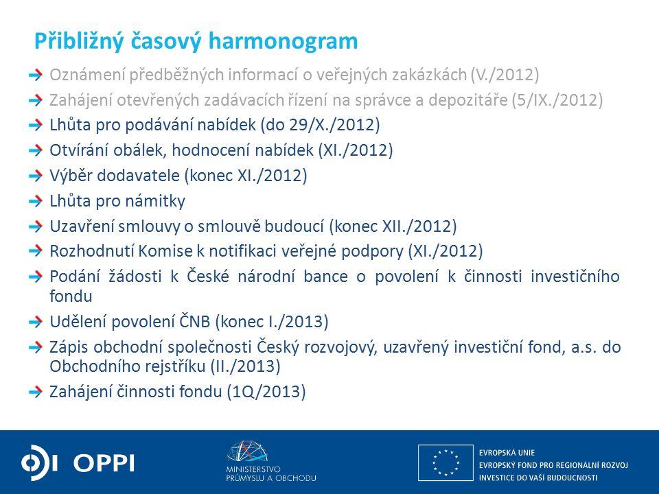 Oznámení předběžných informací o veřejných zakázkách (V./2012) Zahájení otevřených zadávacích řízení na správce a depozitáře (5/IX./2012) Lhůta pro podávání nabídek (do 29/X./2012) Otvírání obálek, hodnocení nabídek (XI./2012) Výběr dodavatele (konec XI./2012) Lhůta pro námitky Uzavření smlouvy o smlouvě budoucí (konec XII./2012) Rozhodnutí Komise k notifikaci veřejné podpory (XI./2012) Podání žádosti k České národní bance o povolení k činnosti investičního fondu Udělení povolení ČNB (konec I./2013) Zápis obchodní společnosti Český rozvojový, uzavřený investiční fond, a.s.