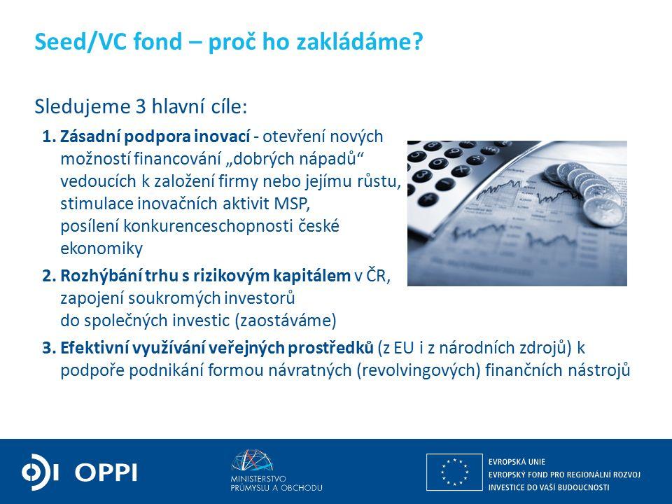 """Sledujeme 3 hlavní cíle: 1.Zásadní podpora inovací - otevření nových možností financování """"dobrých nápadů vedoucích k založení firmy nebo jejímu růstu, stimulace inovačních aktivit MSP, posílení konkurenceschopnosti české ekonomiky 2.Rozhýbání trhu s rizikovým kapitálem v ČR, zapojení soukromých investorů do společných investic (zaostáváme) 3.Efektivní využívání veřejných prostředků (z EU i z národních zdrojů) k podpoře podnikání formou návratných (revolvingových) finančních nástrojů Seed/VC fond – proč ho zakládáme?"""