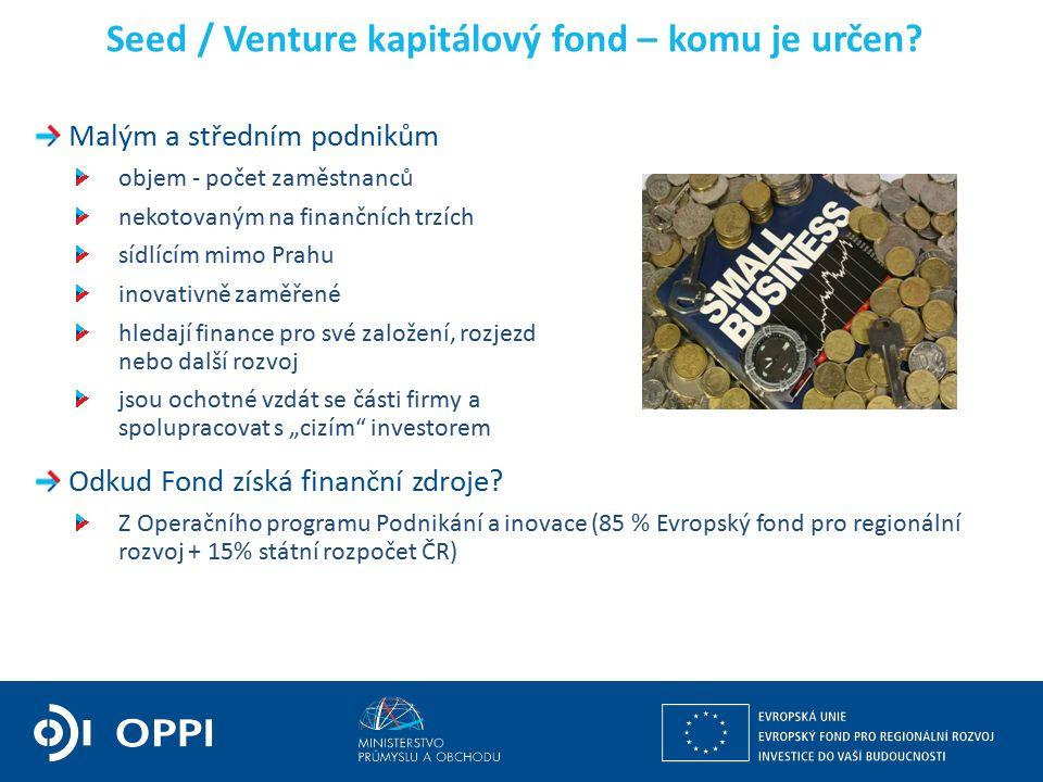 Seed / Venture kapitálový fond – komu je určen.