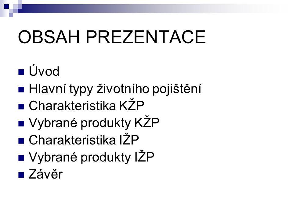 OBSAH PREZENTACE Úvod Hlavní typy životního pojištění Charakteristika KŽP Vybrané produkty KŽP Charakteristika IŽP Vybrané produkty IŽP Závěr