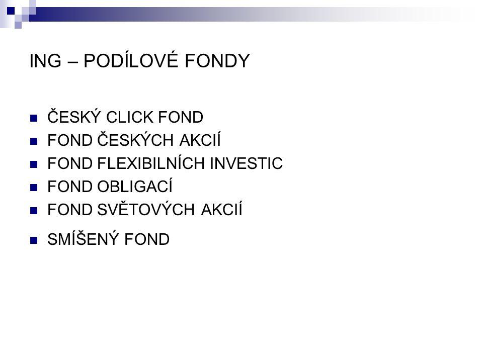 ING – PODÍLOVÉ FONDY ČESKÝ CLICK FOND FOND ČESKÝCH AKCIÍ FOND FLEXIBILNÍCH INVESTIC FOND OBLIGACÍ FOND SVĚTOVÝCH AKCIÍ SMÍŠENÝ FOND