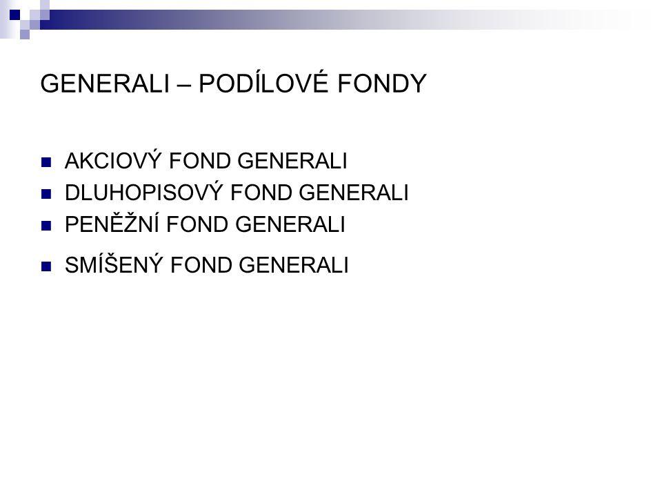 GENERALI – PODÍLOVÉ FONDY AKCIOVÝ FOND GENERALI DLUHOPISOVÝ FOND GENERALI PENĚŽNÍ FOND GENERALI SMÍŠENÝ FOND GENERALI