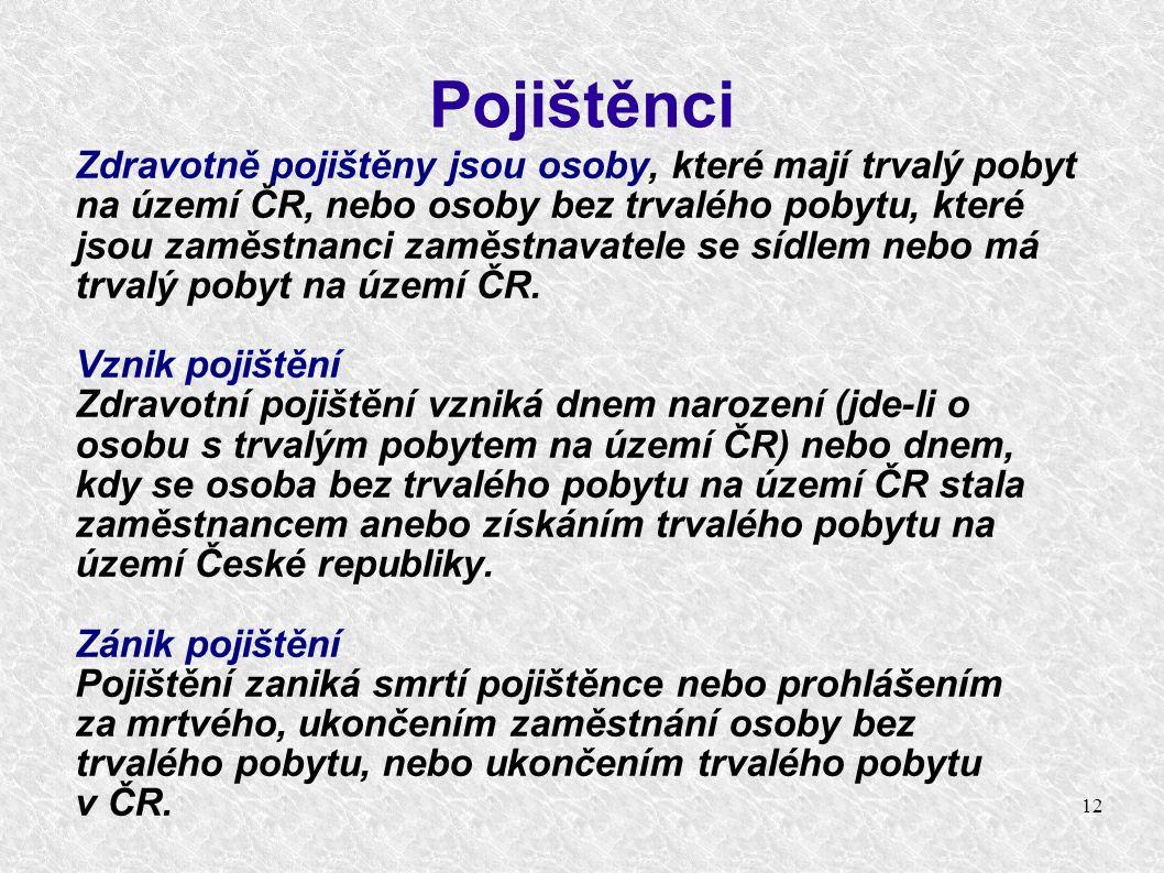 12 Pojištěnci Zdravotně pojištěny jsou osoby, které mají trvalý pobyt na území ČR, nebo osoby bez trvalého pobytu, které jsou zaměstnanci zaměstnavatele se sídlem nebo má trvalý pobyt na území ČR.