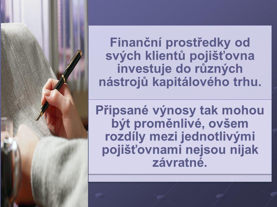 Finanční prostředky od svých klientů pojišťovna investuje do různých nástrojů kapitálového trhu.
